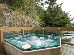Private hot tub with valley views