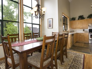 Clean and bright kitchen and dining areas