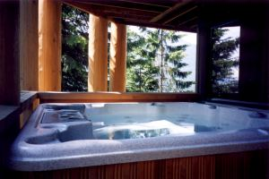 Deluxe hot tub on lower deck