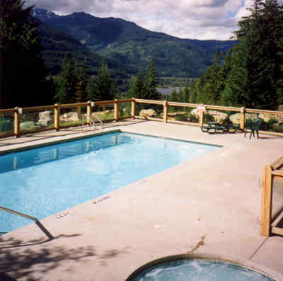 In ground swimming pool and hot tub open June to September